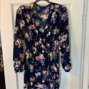 That's a Wrap navy blue floral dress